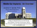 Middle Ear Implants:  An Overview