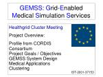 GEMSS :  G rid- E nabled  M edical  S imulation  S ervices