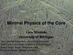 Mineral Physics of the Core