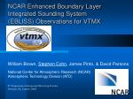 NCAR Enhanced Boundary Layer Integrated Sounding System (EBLISS) Observations for VTMX