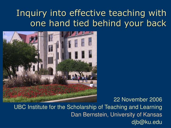 inquiry into effective teaching with one hand tied behind your back n.