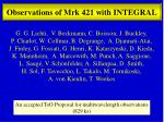 Observations  of Mrk 421 with INTEGRAL