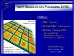 New Results on Focusing DIRC