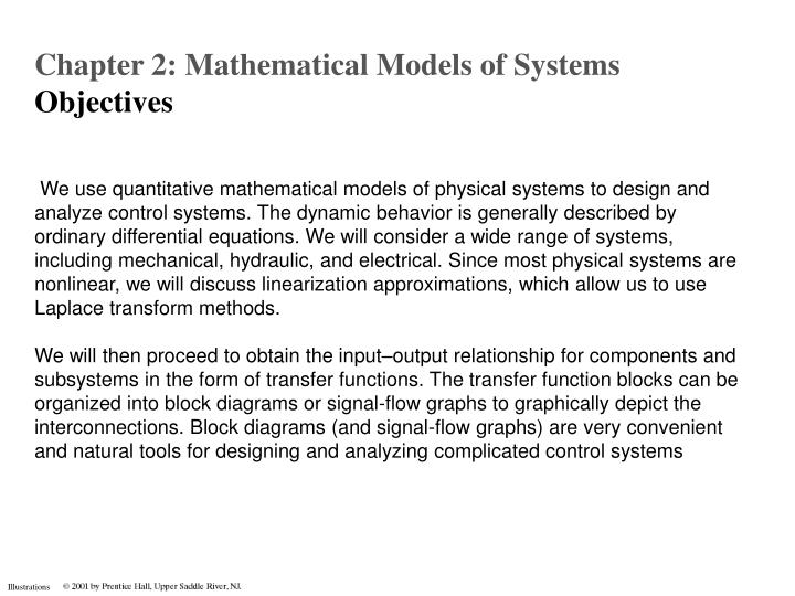 chapter 2: mathematical models of systems o bjectives - powerpoint ppt  presentation