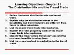 Learning Objectives: Chapter 13 The Distribution Mix and the Travel Trade