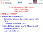 Physics Activities at CAPP ,  Korea Yannis Semertzidis CAPP /IBS at KAIST