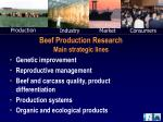 Beef Production Research Main strategic lines