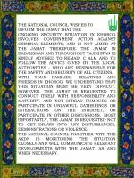 THE NATIONAL COUNCIL WISHES TO  INFORM  THE JAMAT THAT THE