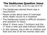 The Sadducees Question Jesus Mark 12:18-27; Matt. 22:23-33; Luke 20:27-40