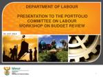 DEPARTMENT OF LABOUR   PRESENTATION TO THE PORTFOLIO COMMITTEE ON LABOUR