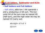 5.10 Adders, Subtractor and ALUs