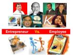 Entrepreneur 	 Vs. 		Employee