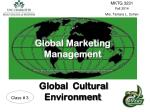 Global Marketing Management Global Cultural Environment