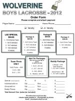 Order Form Please complete and attach payment
