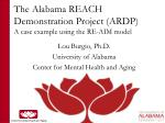 The Alabama REACH Demonstration Project (ARDP) A case example using the RE-AIM model