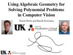Using Algebraic Geometry for Solving Polynomial Problems in Computer Vision