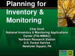Planning for Inventory & Monitoring