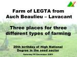 Farm of LEGTA from  Auch Beaulieu – Lavacant Three places for three different types of farming
