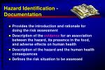 Hazard Identification - Documentation