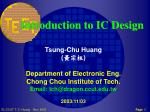 Introduction to IC Design