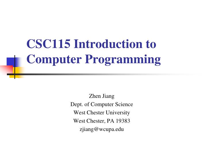 csc115 introduction to computer programming n.