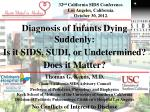 32 nd California SIDS Conference. Los Angeles, California. October 30, 2012.