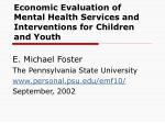 Economic Evaluation of Mental Health Services and Interventions for Children and Youth