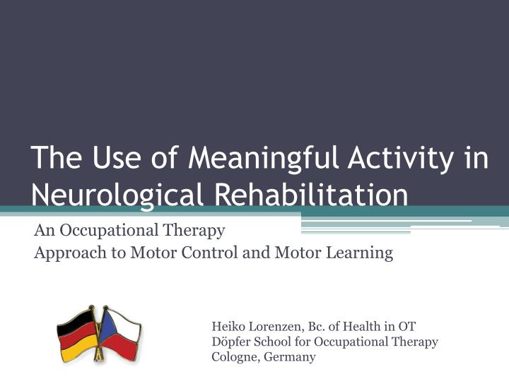 the use of meaningful activity in neurological rehabilitation n.