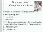 Warm-up : 4/4/11 Complimentary Strand