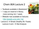 Chem 80A Lecture 2