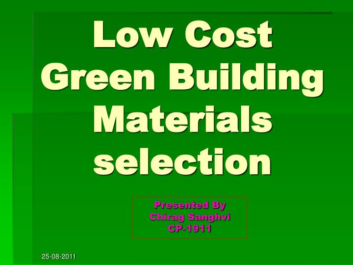 low cost green building materials selection n.