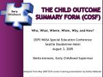 The Child Outcome 	summary form (COSF)