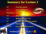 Summary for Lecture 3