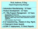 Nick Andreou, P.Eng . Digital Engineering Manager