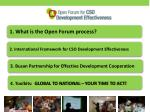 1.  What is  the Open Forum process?
