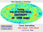 Testing  THE  STATISTICAL     ISOTROPY OF   CMB maps