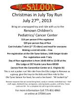 Christmas in July Toy Run July 27 th , 2013