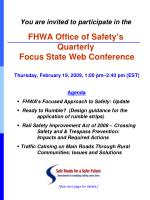 Agenda FHWA's Focused Approach to Safety: Update
