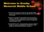 Welcome to Granby Memorial Middle School