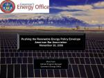 Pushing the Renewable Energy Policy Envelope  American Bar Association  November 20, 2009
