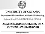 UNIVERSITY OF CATANIA Department of Industrial and Mechanical Engineering
