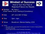 Mindset of Success How to Turn Your Fear of Rejection/Failure into Results