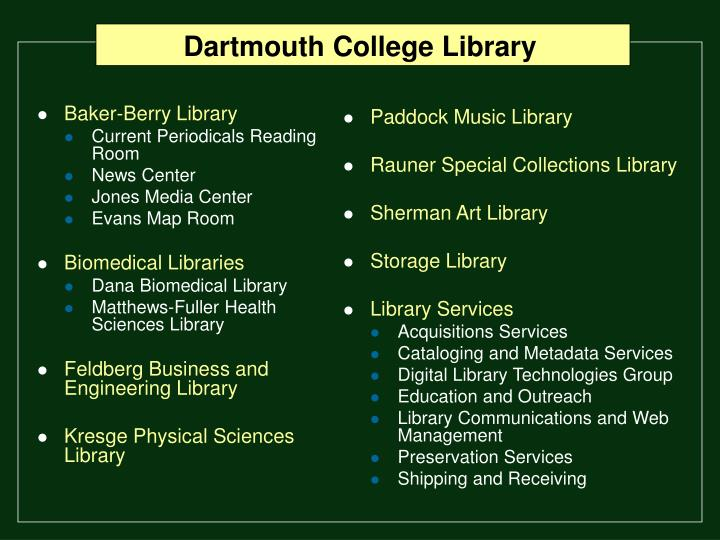 dartmouth college library n.