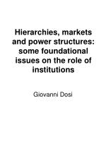 Hierarchies, markets and power structures:  some foundational issues on the role of institutions