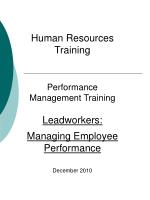 Human Resources Training Performance Management Training Leadworkers: