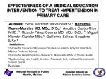 EFFECTIVENESS OF A MEDICAL EDUCATION INTERVENTION TO TREAT HYPERTENSION IN PRIMARY CARE