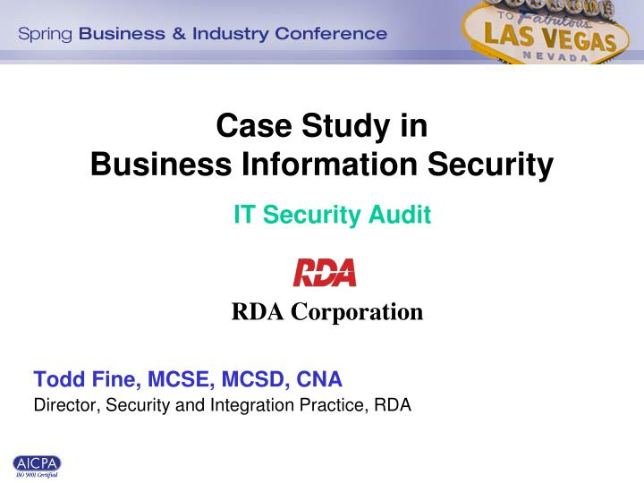 case study in business information security n.
