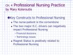 CH. 4  Professional Nursing Practice by Mary Koloroutis