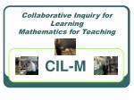 Collaborative Inquiry for Learning  Mathematics for Teaching