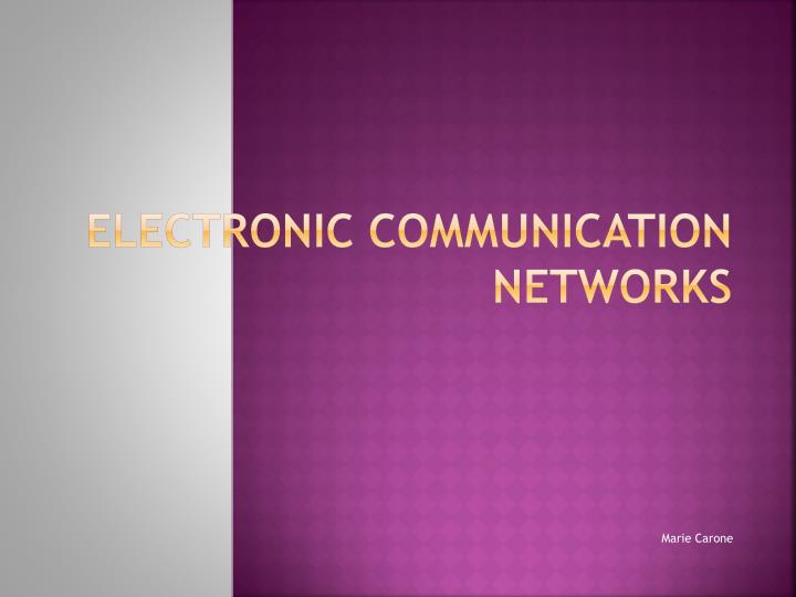 electronic communication networks n.